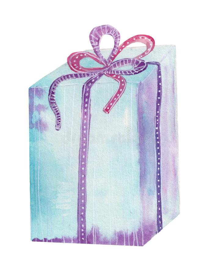 Holiday gift box with ribbon bow. Hand drawn water color stock illustration