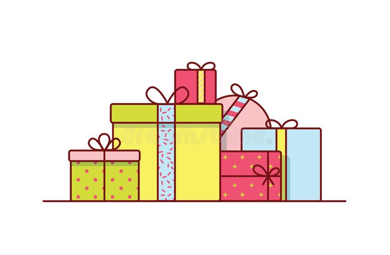 Holiday gift boxes wrapped in bright colored paper and decorated with ribbons and bows. Pile of packed festive presents. Isolated on white background. Colorful royalty free illustration