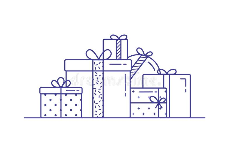 Holiday gift boxes wrapped in paper and decorated with ribbons and bows. Pile of packed festive presents drawn with. Contour lines on white background vector illustration