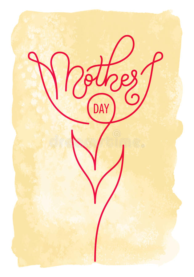 Holiday gift card with hand lettering Mother`s Day on a vintage watercolor background. Template for a banner, poster royalty free illustration