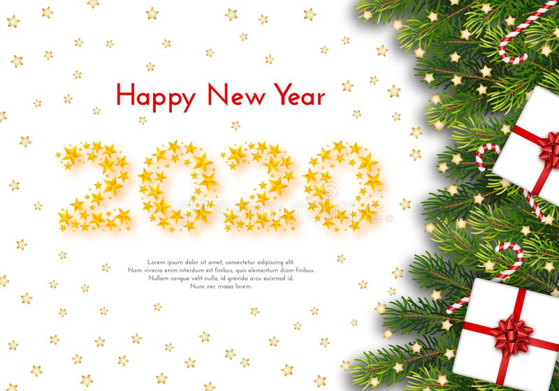Holiday gift card. Happy New Year 2020. Vector illustration stock illustration