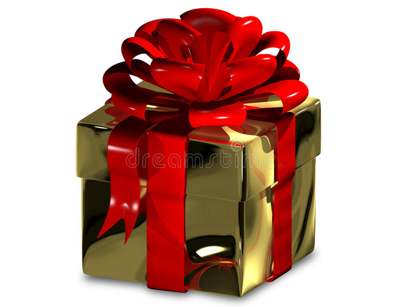 Holiday gift. 3d illustration of a holiday gift in golden packing royalty free illustration