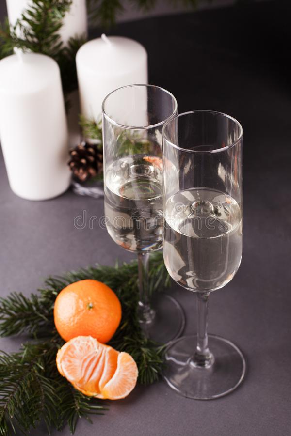 Holiday glass of wine, Christmas And New Year Holiday Table Setting. Celebration. Place setting for Xmas Dinner.  stock photography