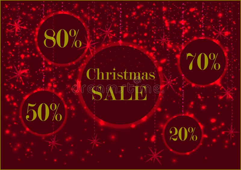 Holiday glowing signboard Christmas sale and discount rate in a round frame, decorated with glowing bright snow, red colors royalty free stock photo