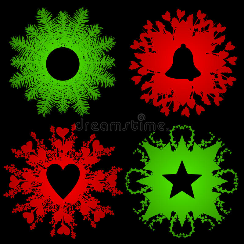 Download Holiday Greenery With Silhouettes Stock Vector - Illustration: 16979001