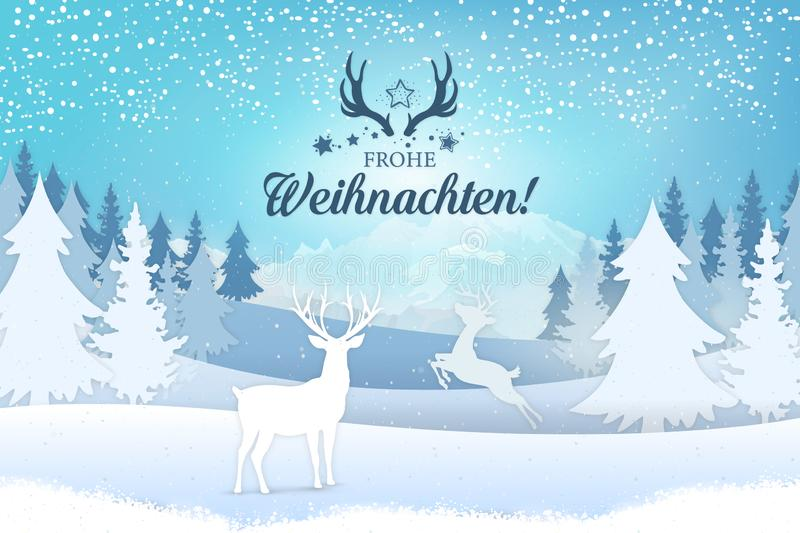 Holiday greeting card concept. Merry Christmas written in German royalty free illustration