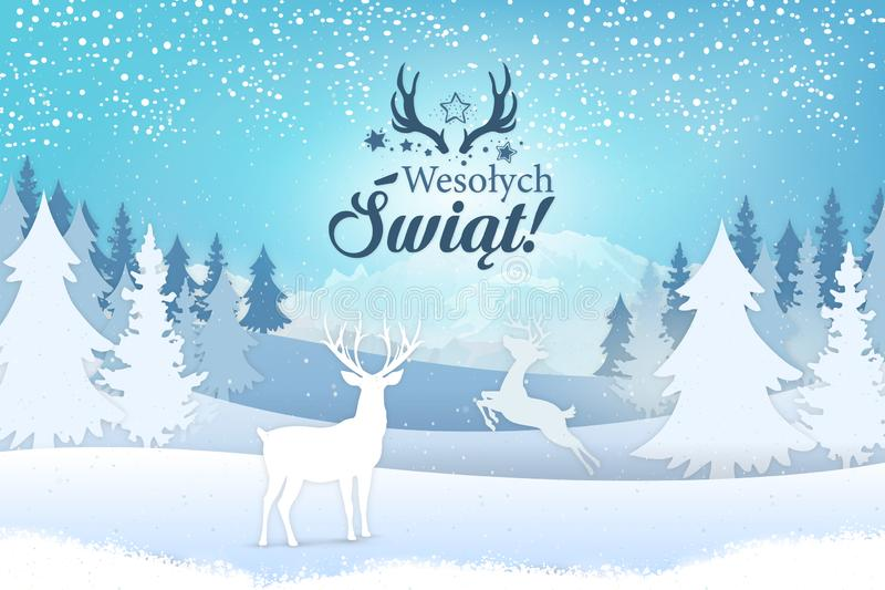 Holiday greeting card concept. Merry Christmas written in Polish vector illustration