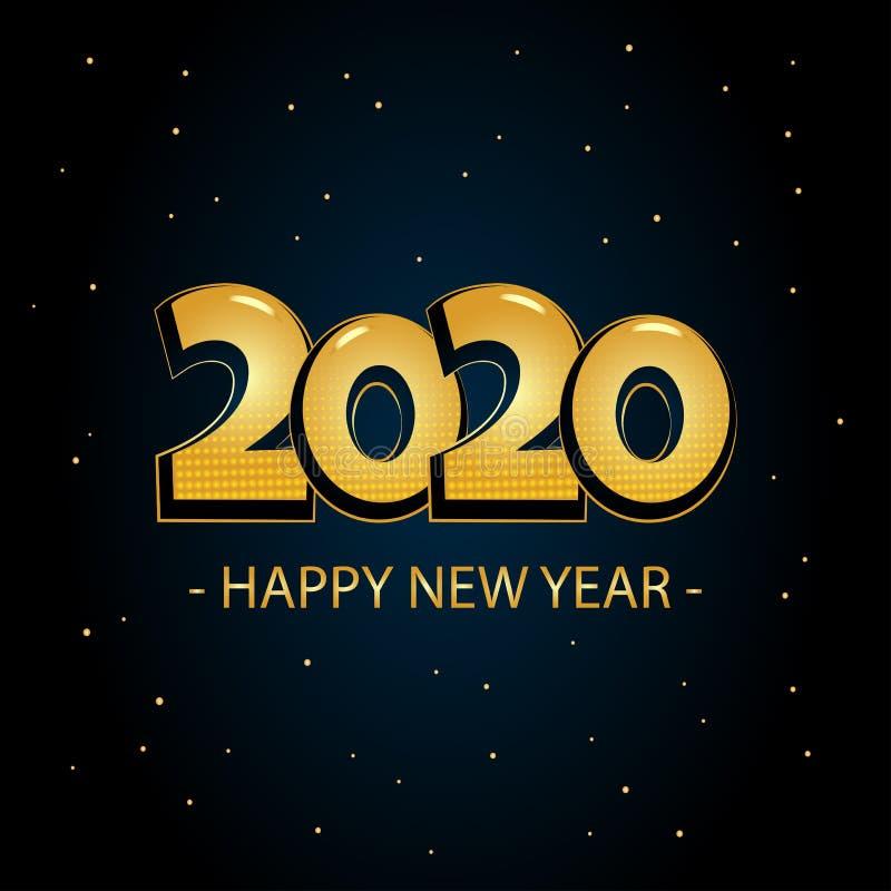 Holiday greeting card. Golden inscription 2020, Happy New Year on dark blue background. Vector. Illustration stock illustration