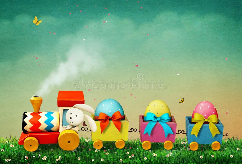 Easter Train vector illustration