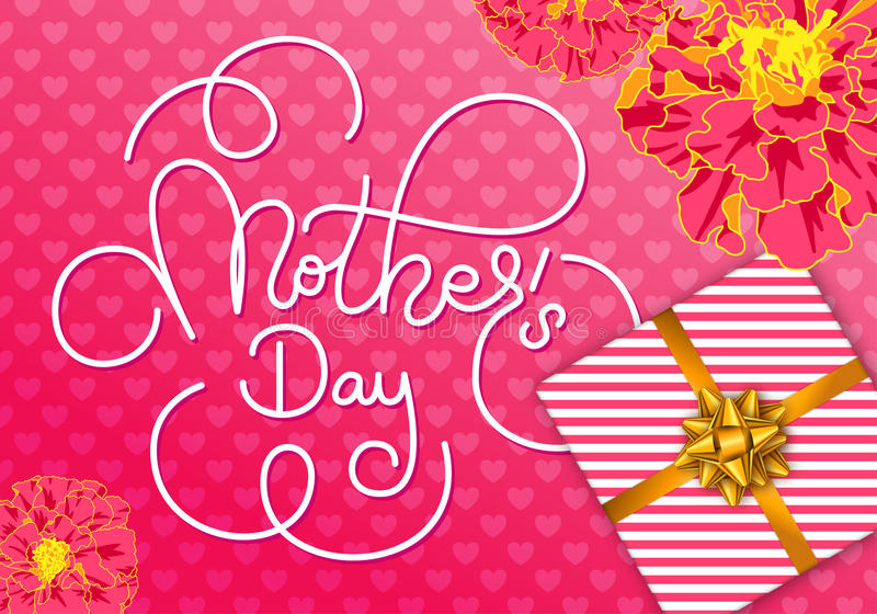Holiday greeting card with hand lettering Mother`s Day, flowers, gift on pink heart background. Template for a banner vector illustration
