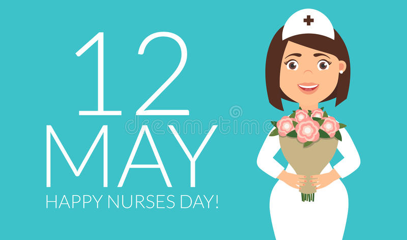 Holiday greeting card for the International Nurses Day. Vector illustration in modern flat style. vector illustration