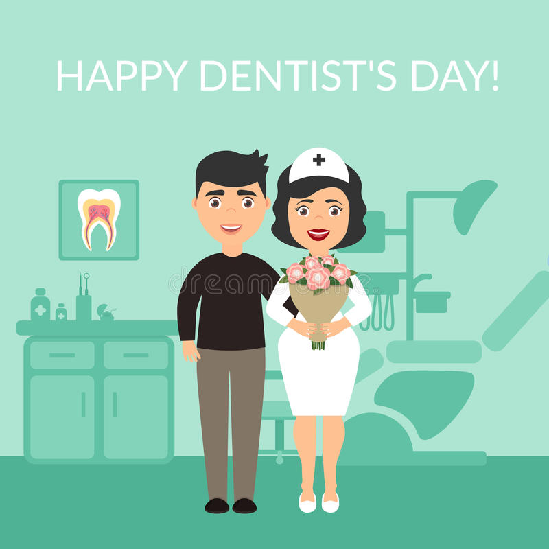 Holiday greeting card medical titles.Happy Dentist`s Day. The patient thanked the dentist. Bouquet of flowers. Vector in vector illustration