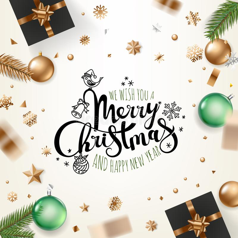 Holiday greeting card. Merry Christmas royalty free illustration