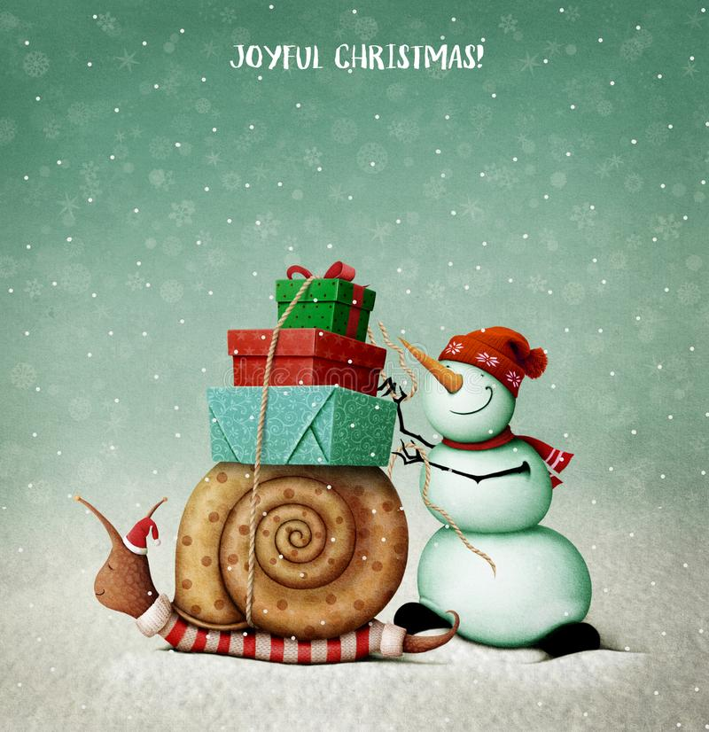 Christmas Snail, Snowman and gifts. royalty free illustration