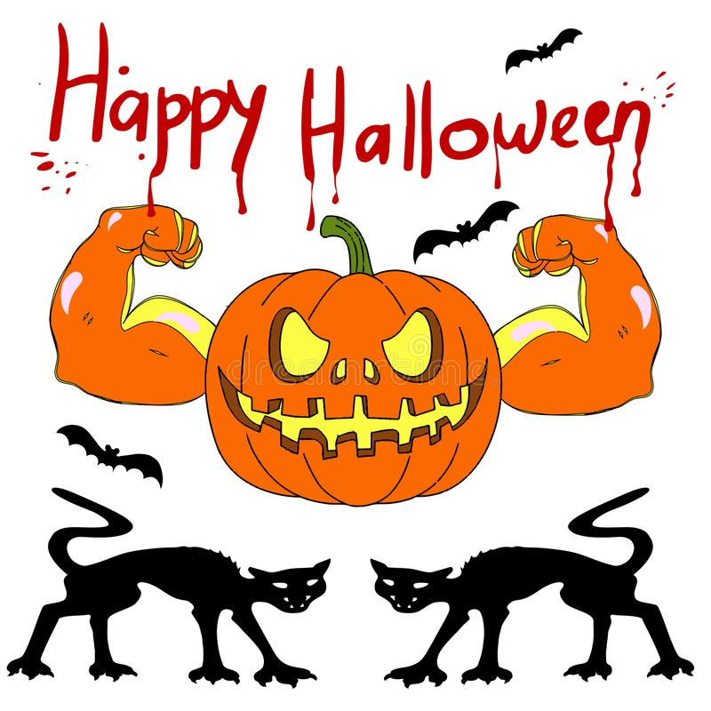 Holiday Halloween, biceps pumpkin and cat, silhouette on white royalty free illustration