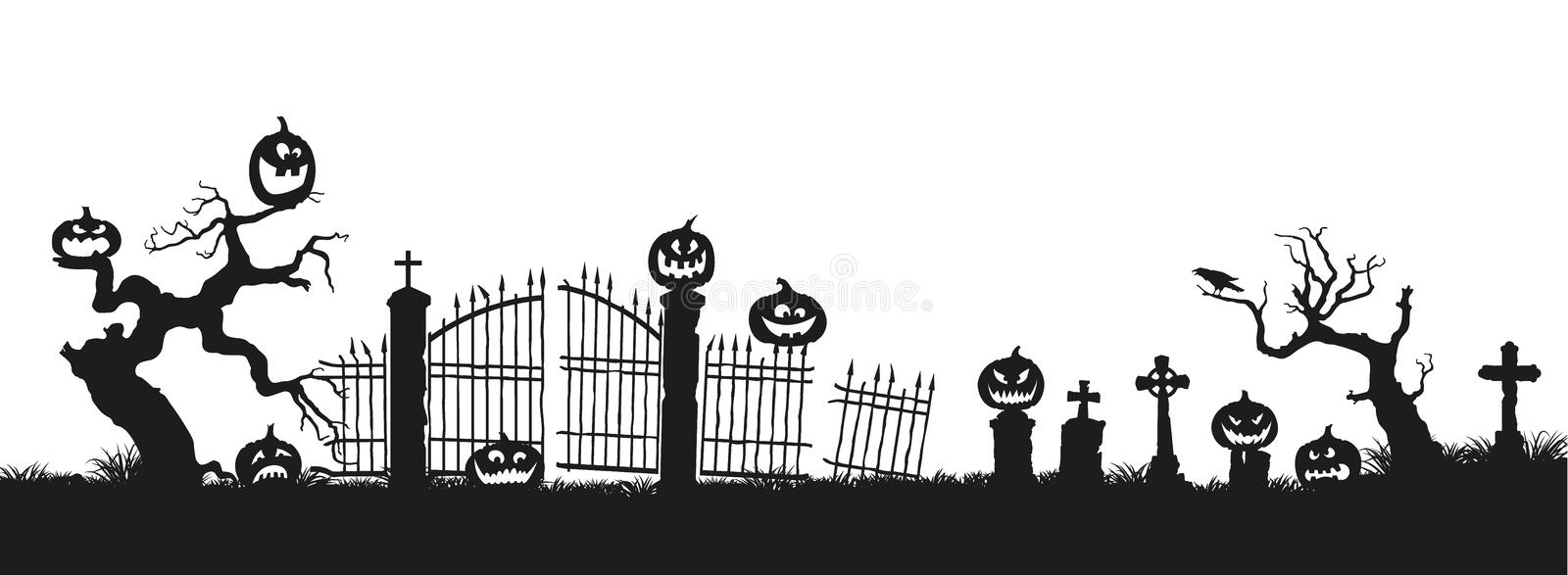 Holiday Halloween. Black silhouettes of pumpkins on the cemetery on white background. Graveyard and broken trees royalty free illustration