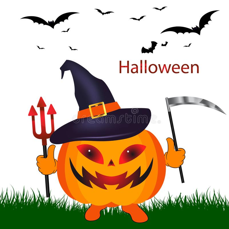 Download Holiday Halloween Pumpkin With A Scythe In Hat On White Ba