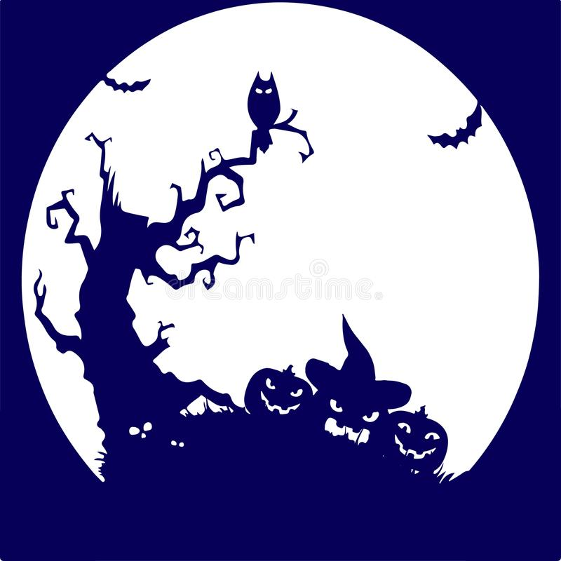 Holiday Halloween, tree, owl, pumpkin, blue silhouette on whit stock images