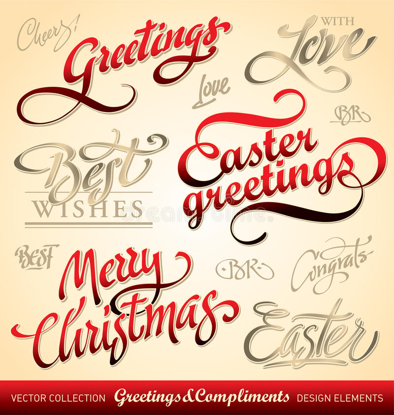 Holiday hand lettering set (vector) royalty free stock photos
