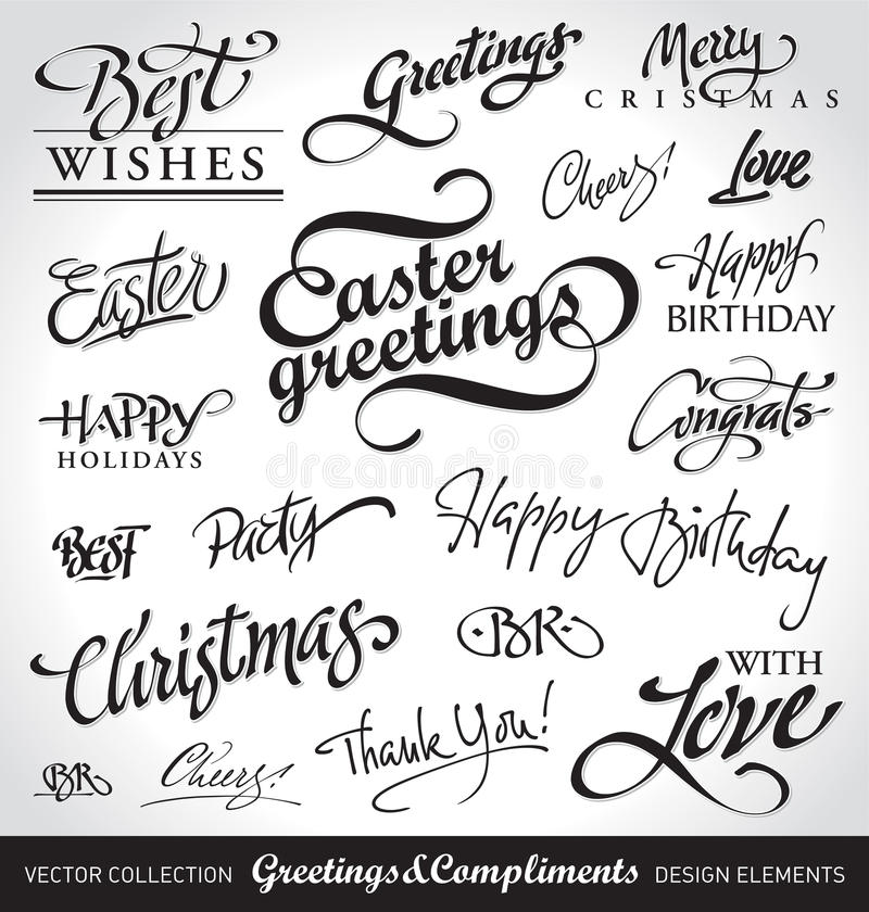 Free Holiday Hand Lettering Set (vector) Stock Photo - 19525370