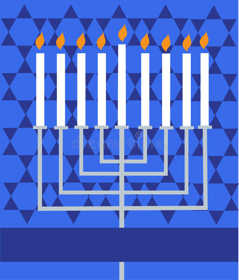 Holiday Hanukkah; lighted Menorah stock illustration