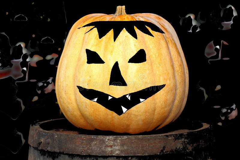 Holiday Happy Halloween. Decora tions in the form of a pumpkin. Holiday Happy Halloween. Decorations in the form of a pumpkin. Close up views royalty free stock images