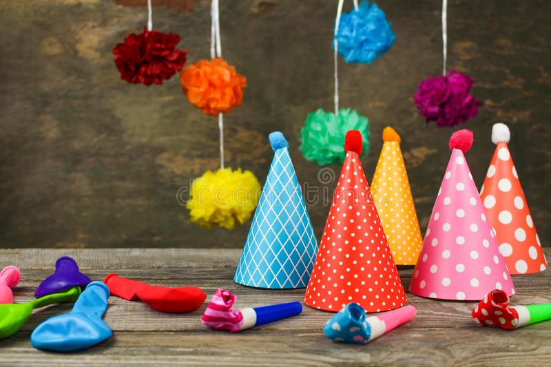 Holiday hats, whistles, balloons. stock images