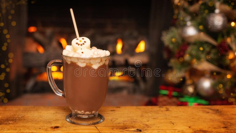 Holiday Hot Cocoa With Marshmallow Snowman royalty free stock images