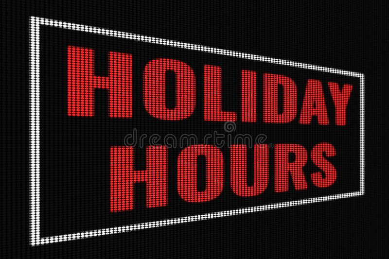 Holiday hours red word on dark screen. Tv effect royalty free illustration