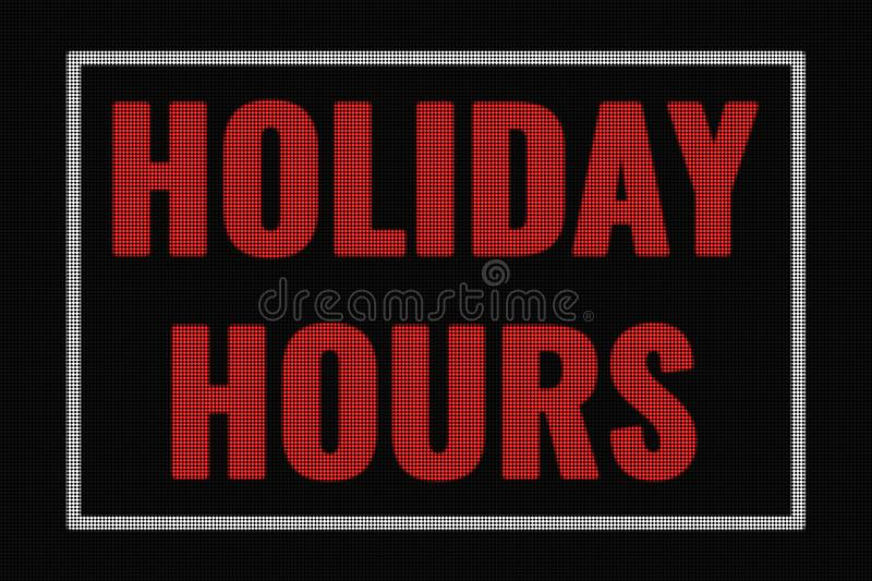 Holiday hours word on dark screen. Tv effect royalty free illustration