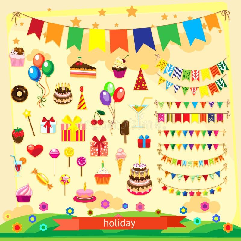 Holiday icon set stock illustration