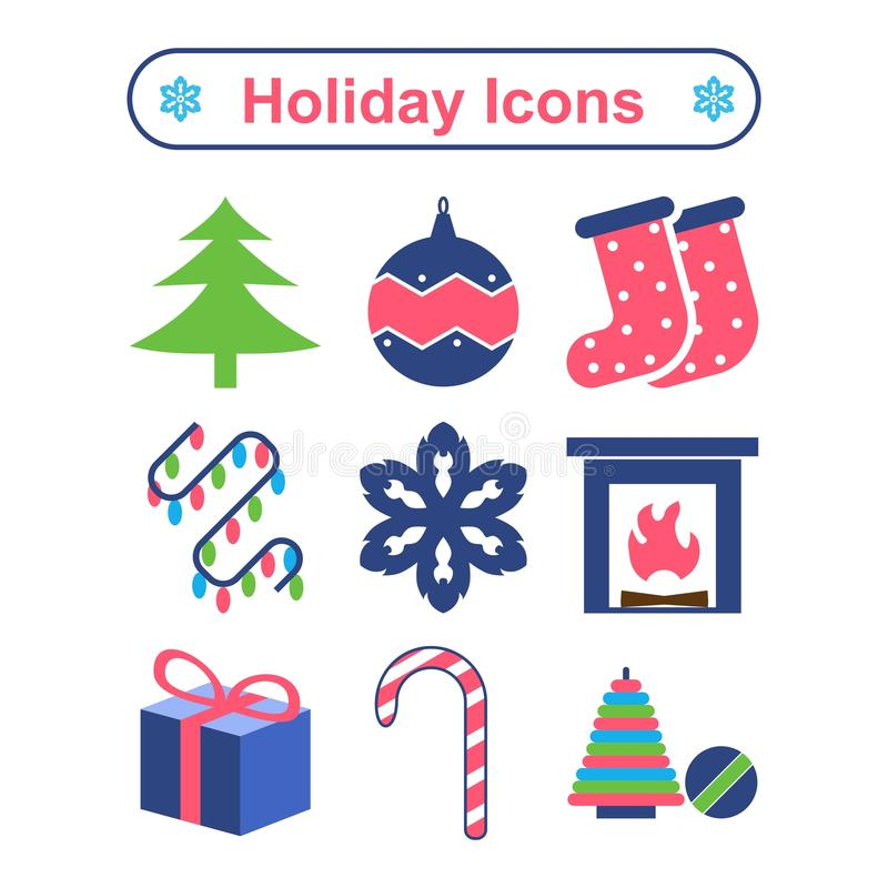 Holiday icons. Set of celebratory icons for Christmas and New Year stock illustration