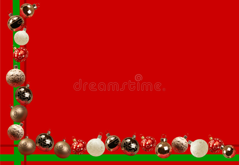 Holiday Image With Christmas Balls. A red and green background decorated with various christmas balls stock illustration