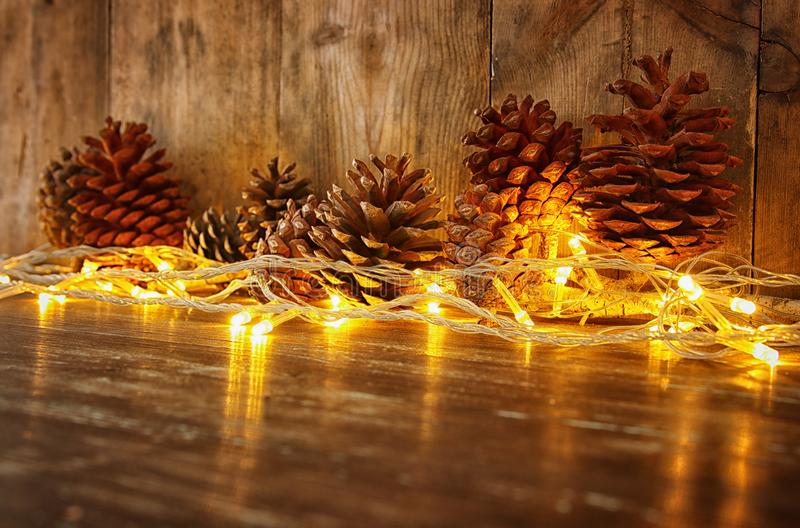 Holiday Image With Christmas Golden Garland Lights And