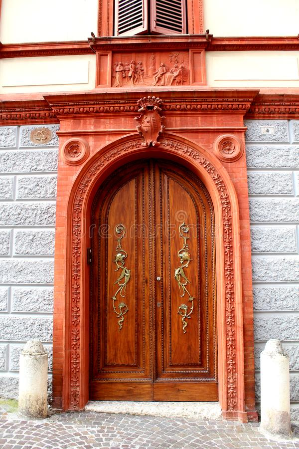Historical centre of Fabriano, Italy - decorative house door royalty free stock photos