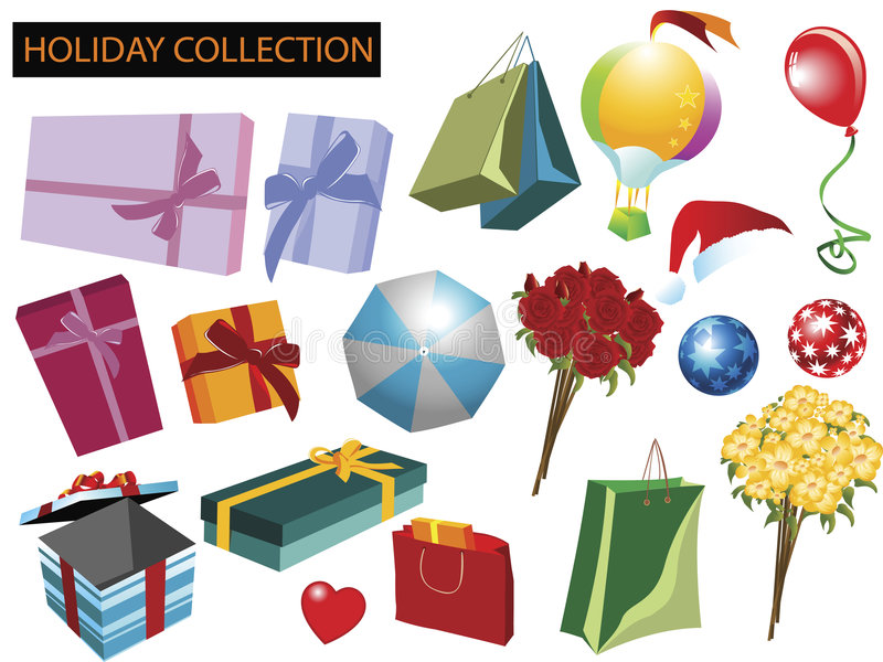 Holiday items collection royalty free stock photos