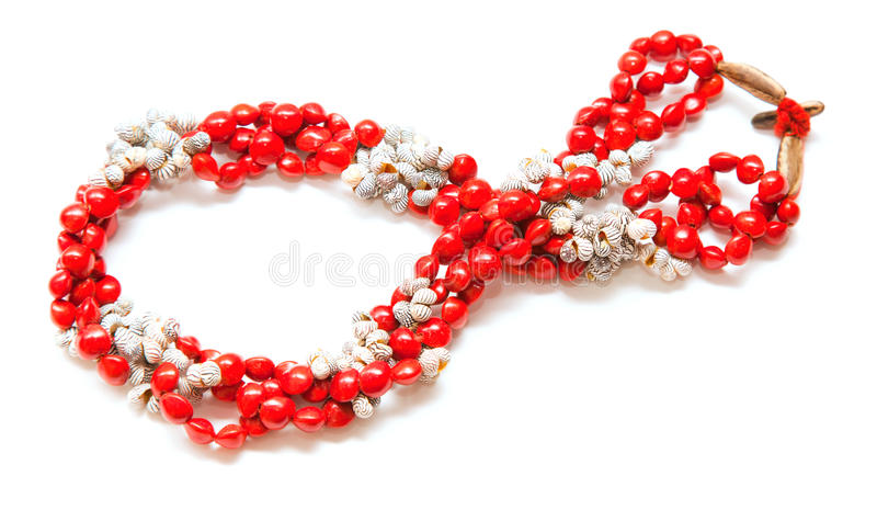 Holiday jewelry. Simple necklace of tiny black and white seashells and bright red seeds of Rhynchosia pyramidalis , Piule royalty free stock photo
