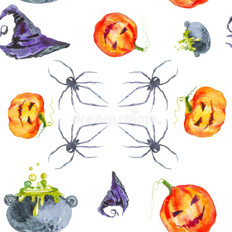 Holiday kit for Halloween, pumpkin,wizard`s hat,a spider and bottles of potion. Watercolor illustration isolated on white vector illustration