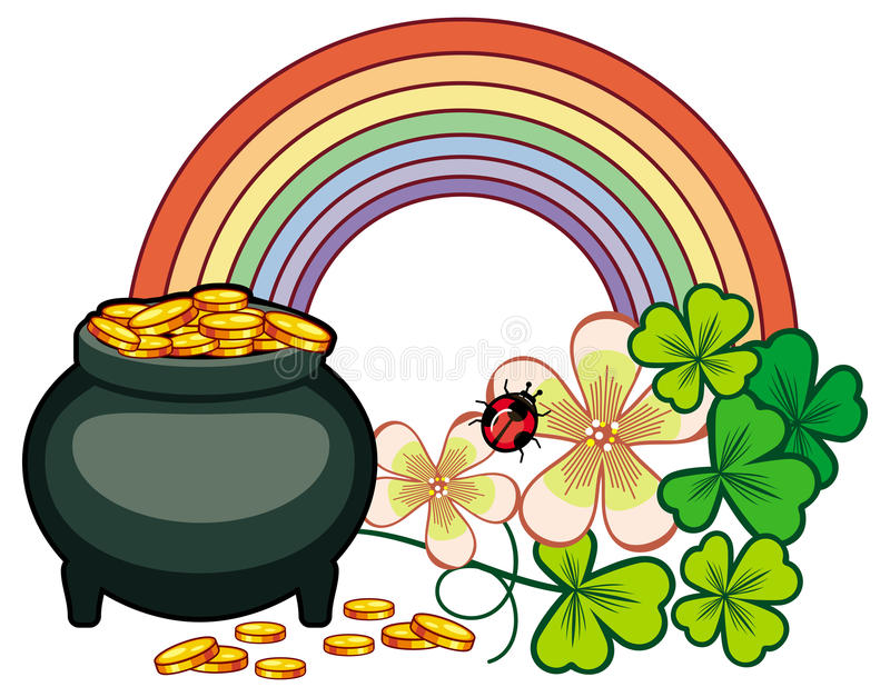 holiday label with shamrock rainbow and leprechaun pot of gold rh dreamstime com clipart leprechaun pot of gold free clipart pot of gold coins