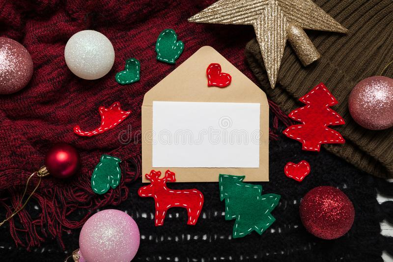 Holiday letter to Santa Claus with a New Year`s decor.  stock photo