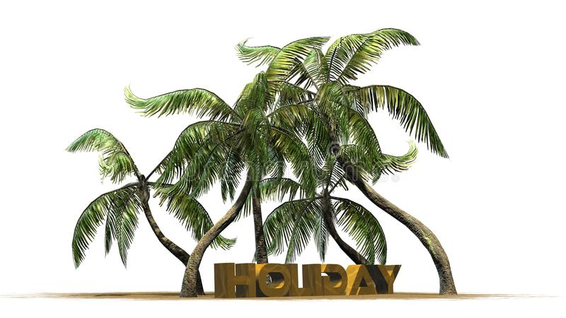 Holiday - lettering - in front palm trees. Holiday lettering and deck chair with palm trees - separated on white background stock illustration