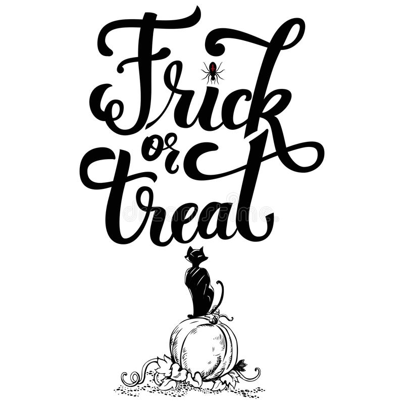 Hand drawn inscrription Trick or treat. Holiday lettering Halloween party theme with inscription Trick or treat vector illustration