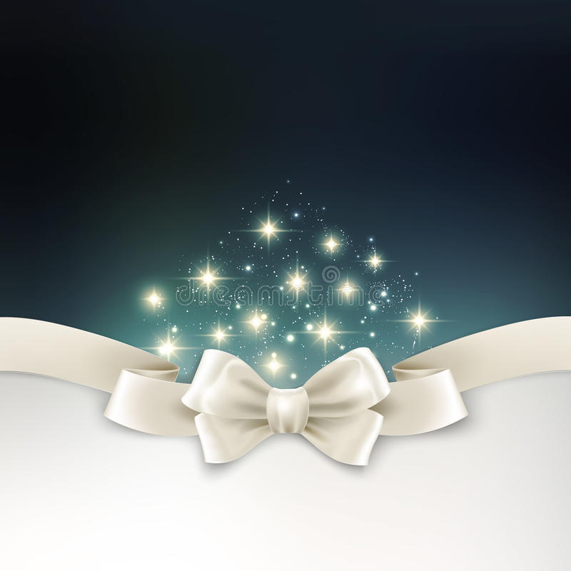 Holiday light Christmas background with white silk. Vector Holiday light Christmas background with white silk bow stock illustration