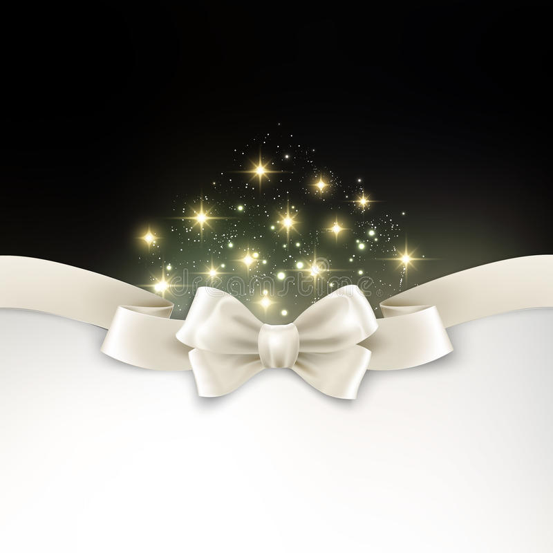 Holiday light Christmas background with white silk. Vector Holiday light Christmas background with white silk bow royalty free illustration