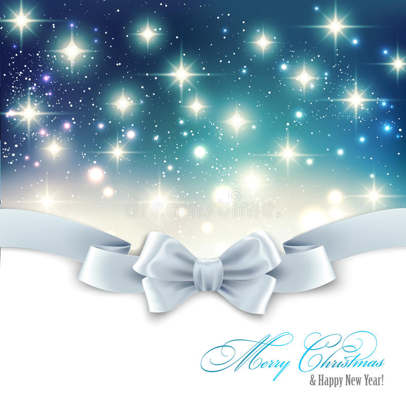 Holiday light Christmas background with white silk. Vector Holiday light Christmas background with white silk bow vector illustration