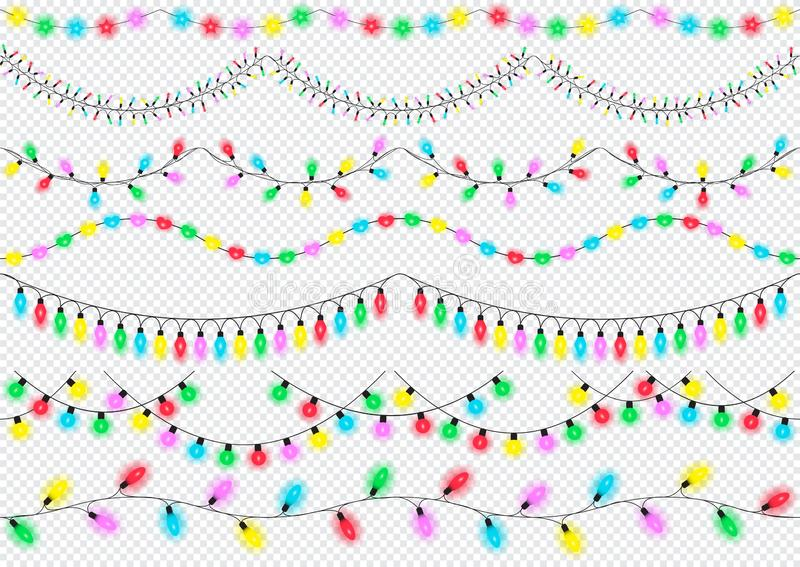 Holiday lights, design elements, isolated. Glowing lights for Christmas, birthday, New year, greeting card design, banner. royalty free illustration