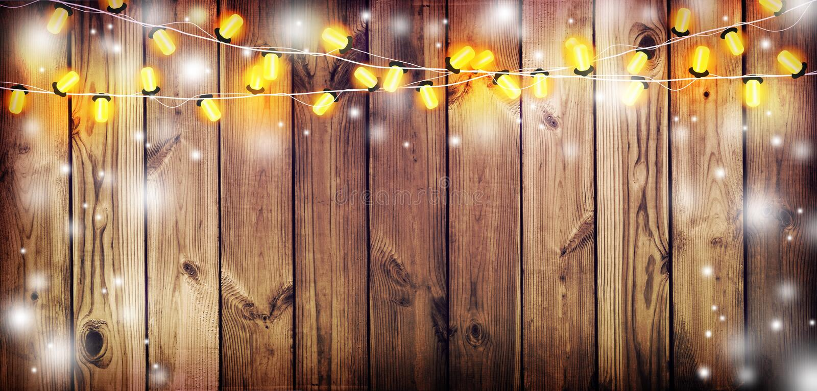 Download Garland With Lights. Old Wooden Background. Celebratory Lights. Night Party. Stock Image - Image of darkness, people: 104843155