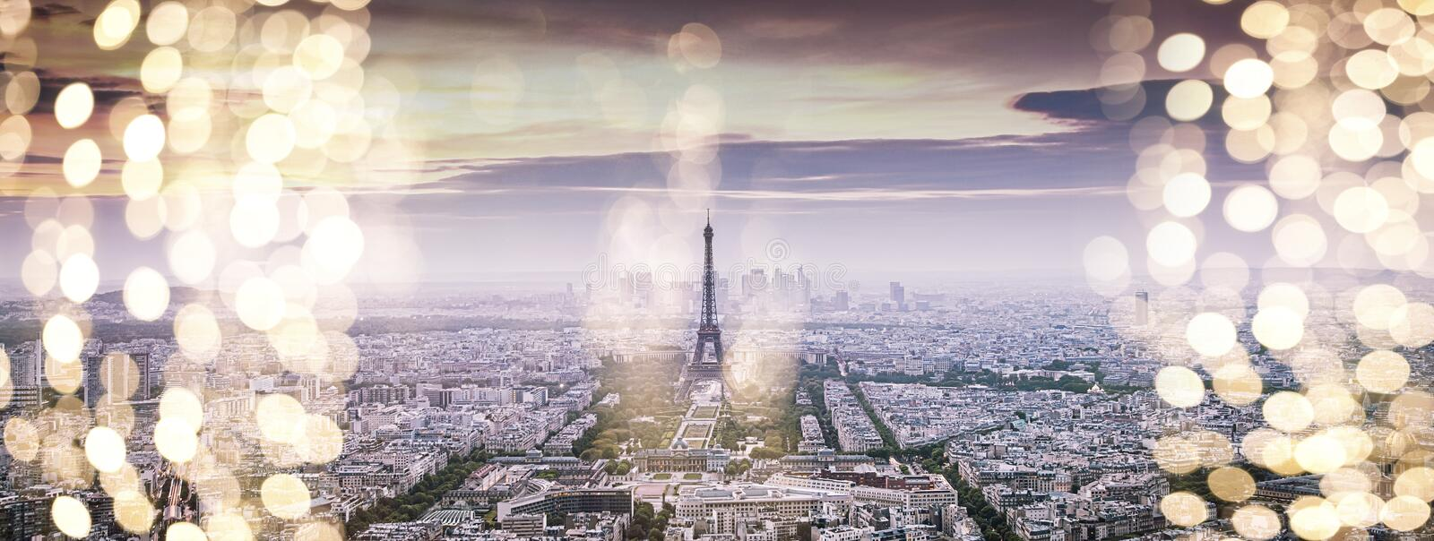 holiday lights in Paris, eiffel tower - Christmas destination stock photography