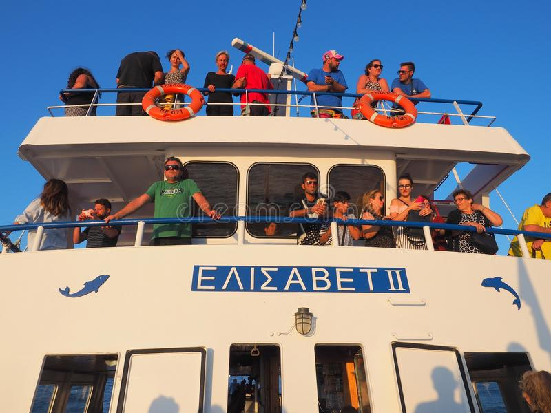 Holiday Makers on Day Cruise Boat, Greece royalty free stock photos