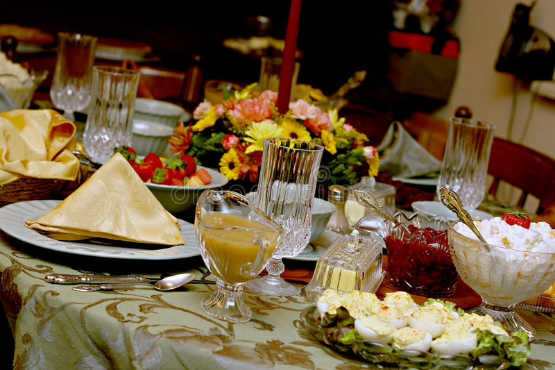 Download Holiday Meal Table stock image. Image of crystal, gathering - 1576961
